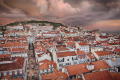 Lisbon city in sunset from above Stock Photo