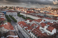Lisbon city in sunset from above Stock Image