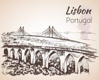 Lisbon cityscape with bridges - hand drawn sketch. royalty free illustration