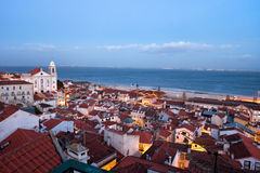Lisbon Cityscape in the Evening Stock Photo