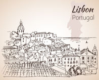 Lisbon cityscape - hand drawn sketch. Stock Photography