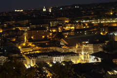 Lisbon cityscape by night stock image