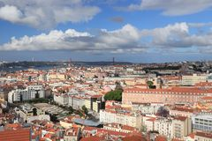 Lisbon city. Scape in Portugal. City view from a miradouro (viewpoint) with Tagus river and 25 de Abril Bridge royalty free stock photography
