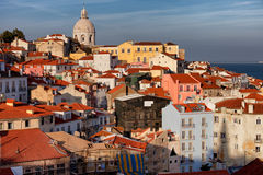 Lisbon Cityscape in Portugal at Sunset Royalty Free Stock Photography