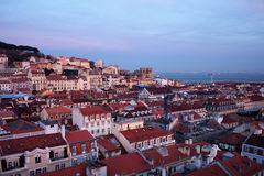 Lisbon Cityscape in Portugal at Twilight Stock Photography