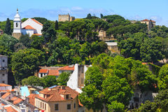 Lisbon cityscape from roof, Portugal. Royalty Free Stock Image