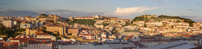 Lisbon cityscape at sunset, Portugal Stock Photos