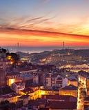 Lisbon cityscape at sunset Royalty Free Stock Image