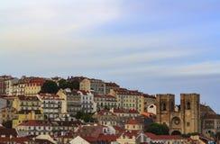 Lisbon cityscape with typical houses and Lisbon Cathedral  Sé de Lisboa