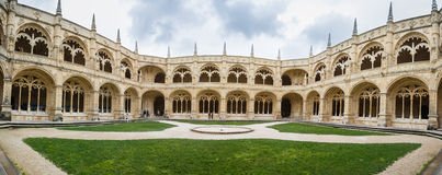 Lisbon, the cloister of the Monastery Dos Jeronimos. Cloister dos Jeronimos monastery is made in Manueline style Stock Photo