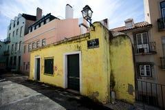 Lisbon coloured old town buildings Stock Photos