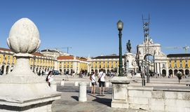 Lisbon Commerce Square. The Commerce Square on a sunny summer day is the largest square in Lisbon, Portugal Stock Images