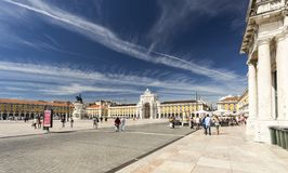 Lisbon Commerce Square. The Commerce Square, commonly known as Terreiro do Paco, is the largest square in Lisbon, Portugal Stock Image