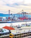 Lisbon commercial port, city bridge stock photo