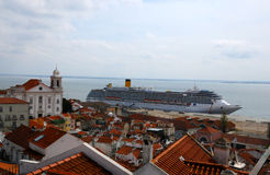 Lisbon and cruise liner Stock Photography