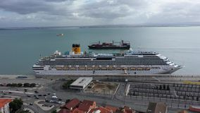 Lisbon Cruise Port at Tabaco Quay from above - CITY OF LISBON, PORTUGAL - NOVEMBER 5, 2019 stock footage