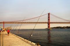 Lisbon - 25 De Abril zawieszenia most Obraz Royalty Free