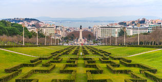 Lisbon - December 2014, Estremadura Province, Portugal: Wide angle panorama of Lisbon Stock Images