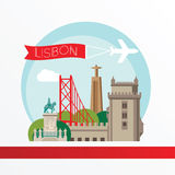 Lisbon, detailed silhouette. Trendy vector illustration, flat style. Stylish colorful  landmarks. Royalty Free Stock Photo