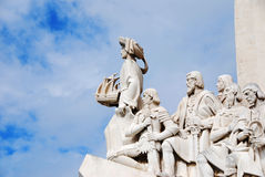 Lisbon Discovery Monument. Detail of the famous Monument for the Discoveries, in Lisbon on the river Tagus, called in his original langauge Padrao dos stock photo