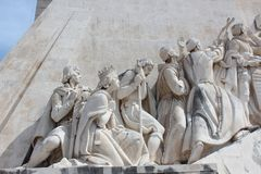 Lisbon Discovery Monument. Padrao dos Descobrimentos. Detail of the famous Monument for the Discoveries, in Lisbon on the river Tagus, called in his original Stock Photo