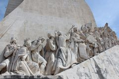 Lisbon Discovery Monument. Padrao dos Descobrimentos. Detail of the famous Monument for the Discoveries, in Lisbon on the river Tagus, called in his original Royalty Free Stock Photography
