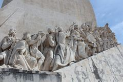 Lisbon Discovery Monument. Padrao dos Descobrimentos. Detail of the famous Monument for the Discoveries, in Lisbon on the river Tagus, called in his original Royalty Free Stock Photo
