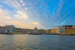 Lisbon Skyline, Old Town Riverside Square, Travel Portugal Royalty Free Stock Photos