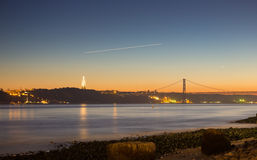 Lisbon downtown viewpoint to tagus river Stock Photo