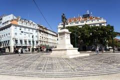 Lisbon Duque da Terceira Square. Statue of 1st Duque of Terceira in the little square of the same name near Cais do Sodre Train Station in Lisbon, Portugal stock photos
