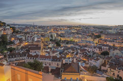 Lisbon at dusk. Capital of Portugal Stock Photography
