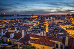 Lisbon at dusk stock photography