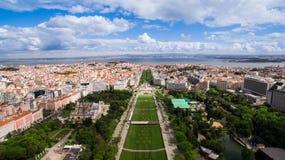 Lisbon Eduardo VII Parkowy widok z lotu ptaka Obrazy Royalty Free