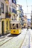 Lisbon, characteristic electric tram of the city stock photos