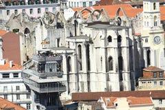 Lisbon. Elevador Santa Justa and ruins of the convent stock photo