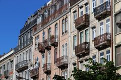 Lisbon Estefania. Lisbon cityscape in Portugal. Residential street architecture. Estefania district stock photos