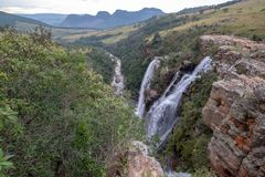 The Lisbon Falls: double waterfalls in the Blyde River Canyon, Panorama Route near Graskop, Mpumalanga, South Africa. royalty free stock image