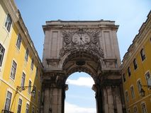 Lisbon famous arch. On the commerce square Royalty Free Stock Photo