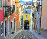 Lisbon funicular Bica. In Bairro Alto district stock images