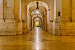Lisbon. Gallery on the Commerce Square. Stock Photography