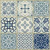 Lisbon geometric Azulejo tile vector pattern, Portuguese or Spanish retro old tiles mosaic, Mediterranean seamless navy blue desig. Spanish or Portuguese vector royalty free illustration