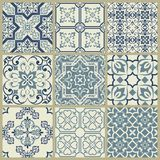 Lisbon geometric Azulejo tile vector pattern, Portuguese or Spanish retro old tiles mosaic, Mediterranean seamless navy blue desig vector illustration