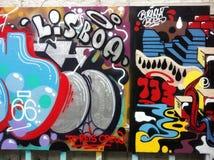 Lisbon graffiti wall. Awesome artwork in lisbon Royalty Free Stock Image