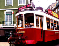 LISBON GROUP OF ELECTRIC TRAM stock photos