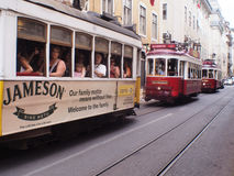 LISBON GROUP OF ELECTRIC TRAM stock photography
