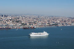 Lisbon Harbour. City of Lisbon,Portugal,E.U.. Cruise navigation entrance to pier Stock Images