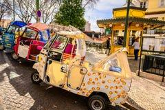 Lisbon and his tuk tuk taxi transport Stock Image