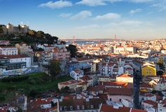 Lisbon historic city at sunset, Portugal Stock Photography