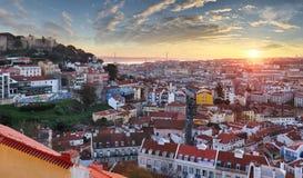 Lisbon historic city at sunset, Portugal Royalty Free Stock Photo