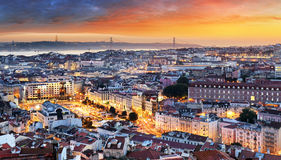 Lisbon historic city at sunset, Portugal Stock Images